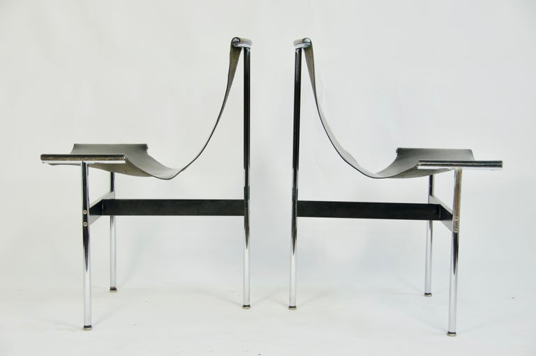 Pair T-chairs by William Katavolos Littell and Kelly.  This set of elegant three-legged chairs seems almost too delicate to sit in. But in fact these sensuous chairs are very strong. The chairs are curveous and sculptural and feature wonderful