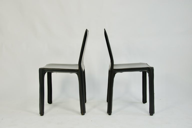 Mid-Century Modern Pair of Black Leather