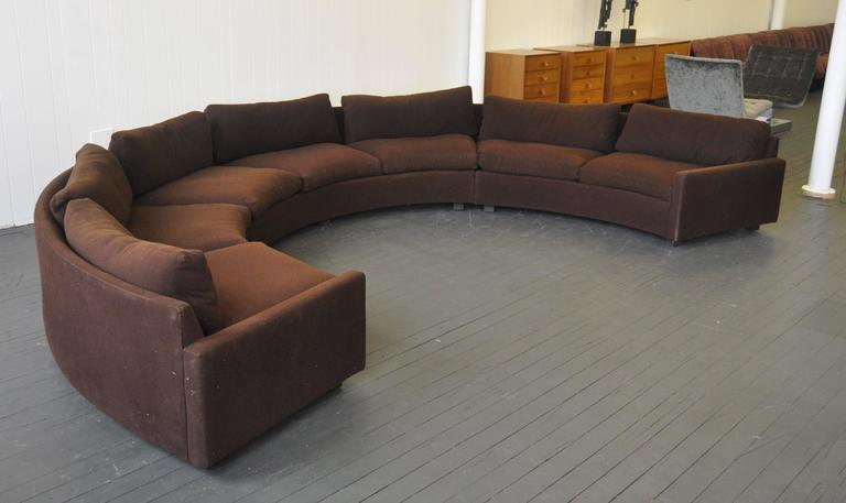 Mid Century Modern Milo Baughman Curved Sectional Sofa For Sale
