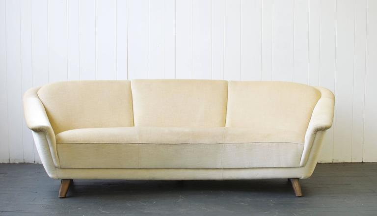 1950s Curved German Sofa Matching Pair Chairs Available Dimensions Below Are For The Full