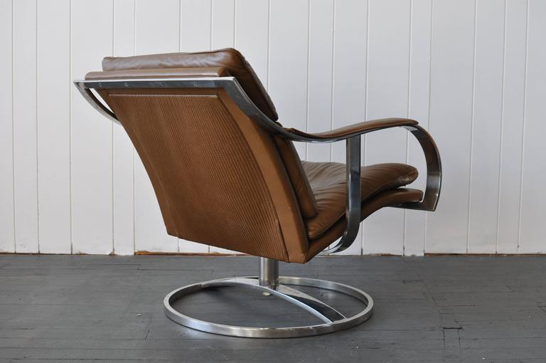 Mid Century Modern Gardner Leaver For Steelcase Leather Lounge Chair For  Sale