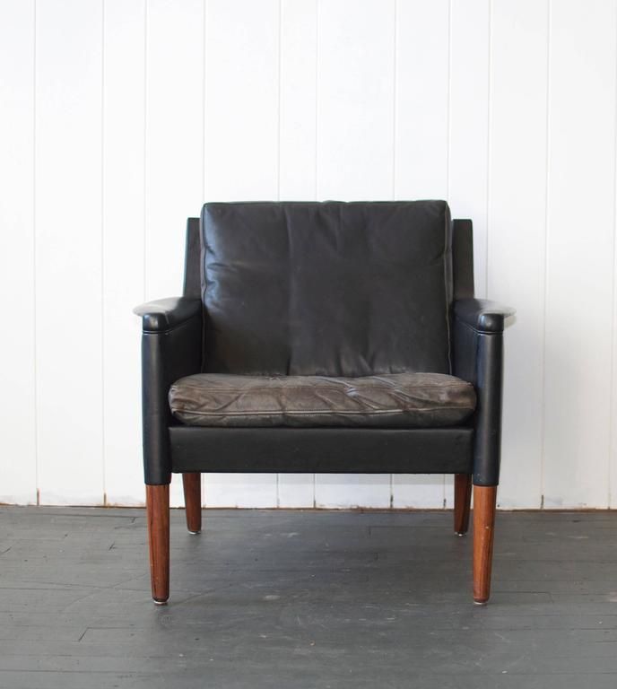 Danish Kurt Ostervig Leather Lounge Chair and Ottoman For Sale