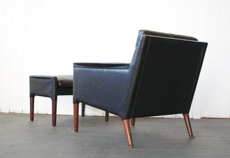Kurt Ostervig Leather Lounge Chair and Ottoman In Good Condition For Sale In Pelham, MA