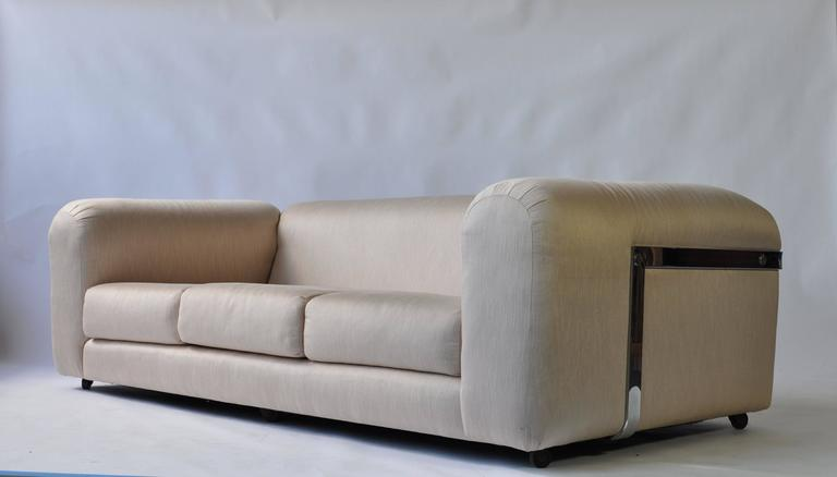 Exceptional 1970s chrome sofa. Great scale and very comfortable. Image #2 is distorted on the 1stdibs site and appears short.  Click on image for larger image and actual scale.