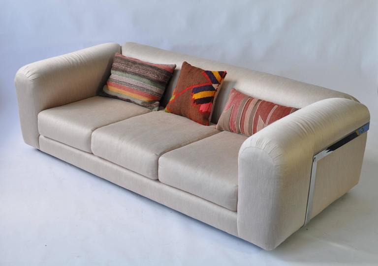 Mid-Century Modern 1970s Chrome Frame Sofa For Sale
