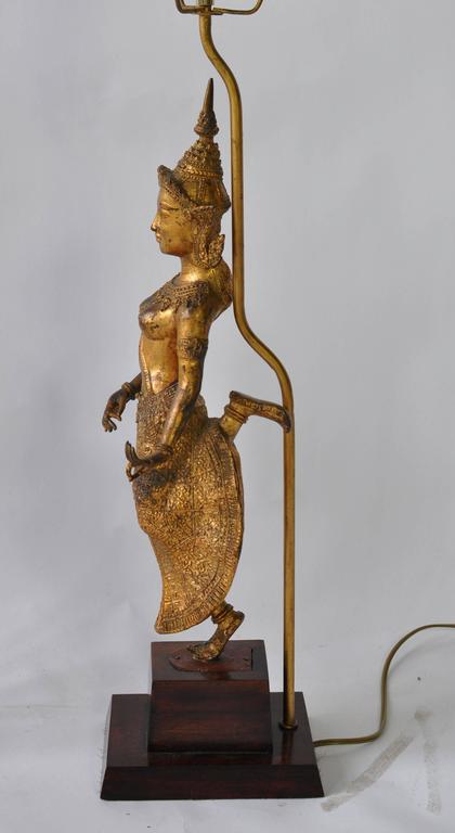 Gilt Collection of Vintage Thai Figure Lamps For Sale