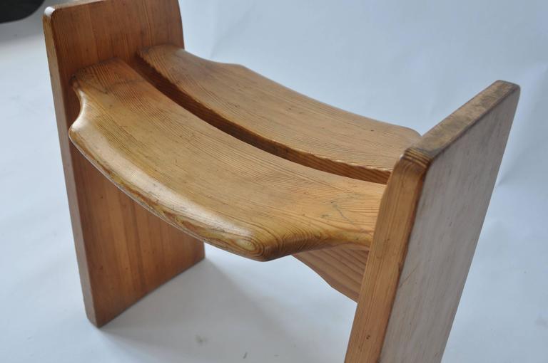 Scandinavian Modern Solid Pine Stool by Gilbert Marklund For Sale
