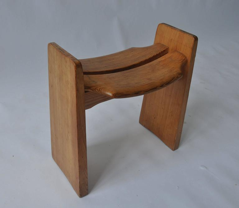 Swedish Solid Pine Stool by Gilbert Marklund For Sale