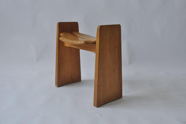 Solid Pine Stool by Gilbert Marklund In Good Condition For Sale In Pelham, MA