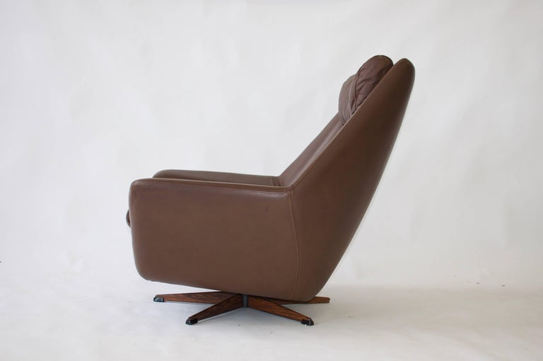 Danish H. W. Klein Swivel Leather Lounge Chair For Sale