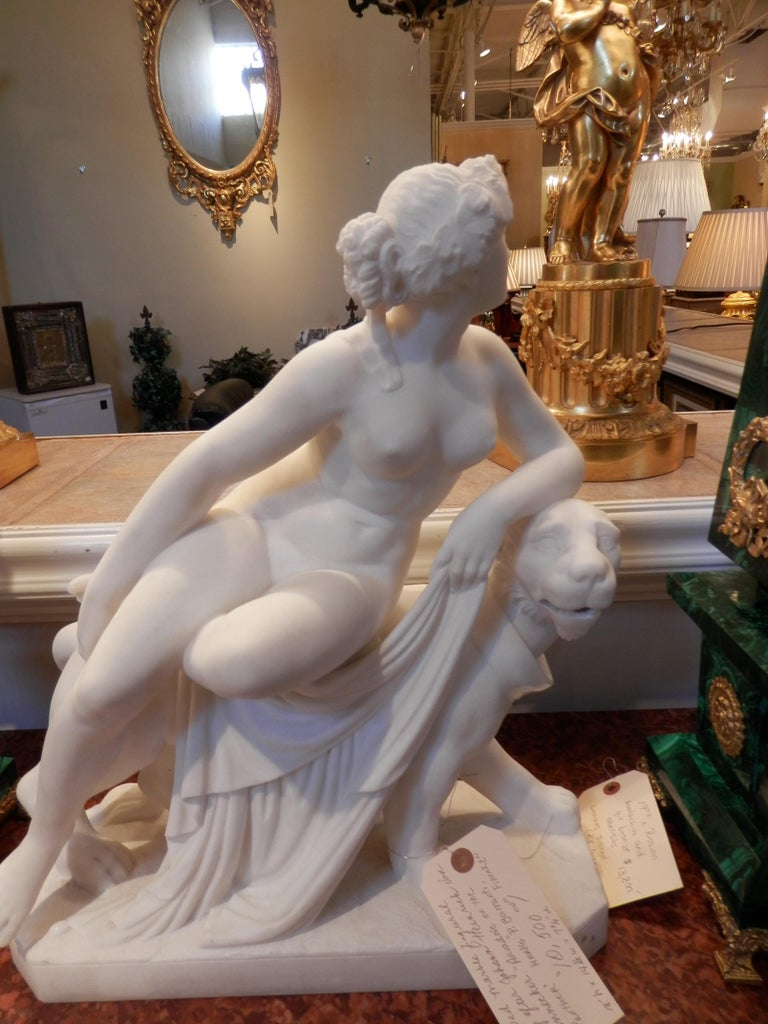 Carved 19th Century Italian Carrera Sculpture After Johann Heinrich von Dannecker For Sale