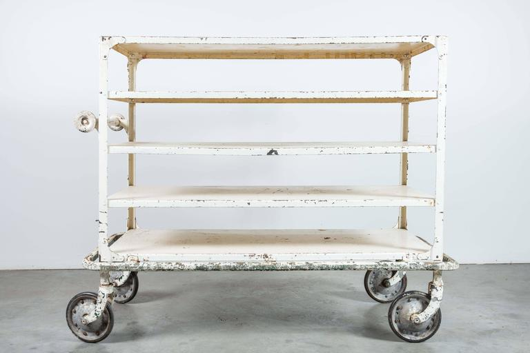 Early 20th Century White Iron Industrial Cart 2