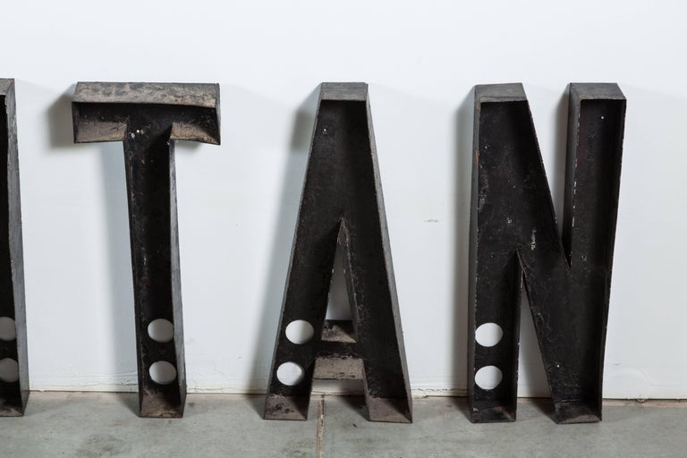Steampunk Vintage Movie Marquee Sheet Metal Letters Metropolitan For Sale