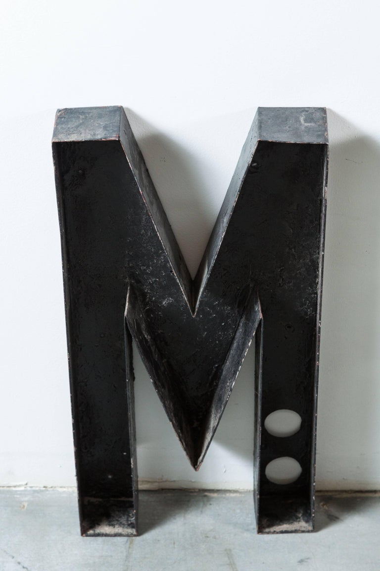 Mid-20th Century Vintage Movie Marquee Sheet Metal Letters Metropolitan For Sale