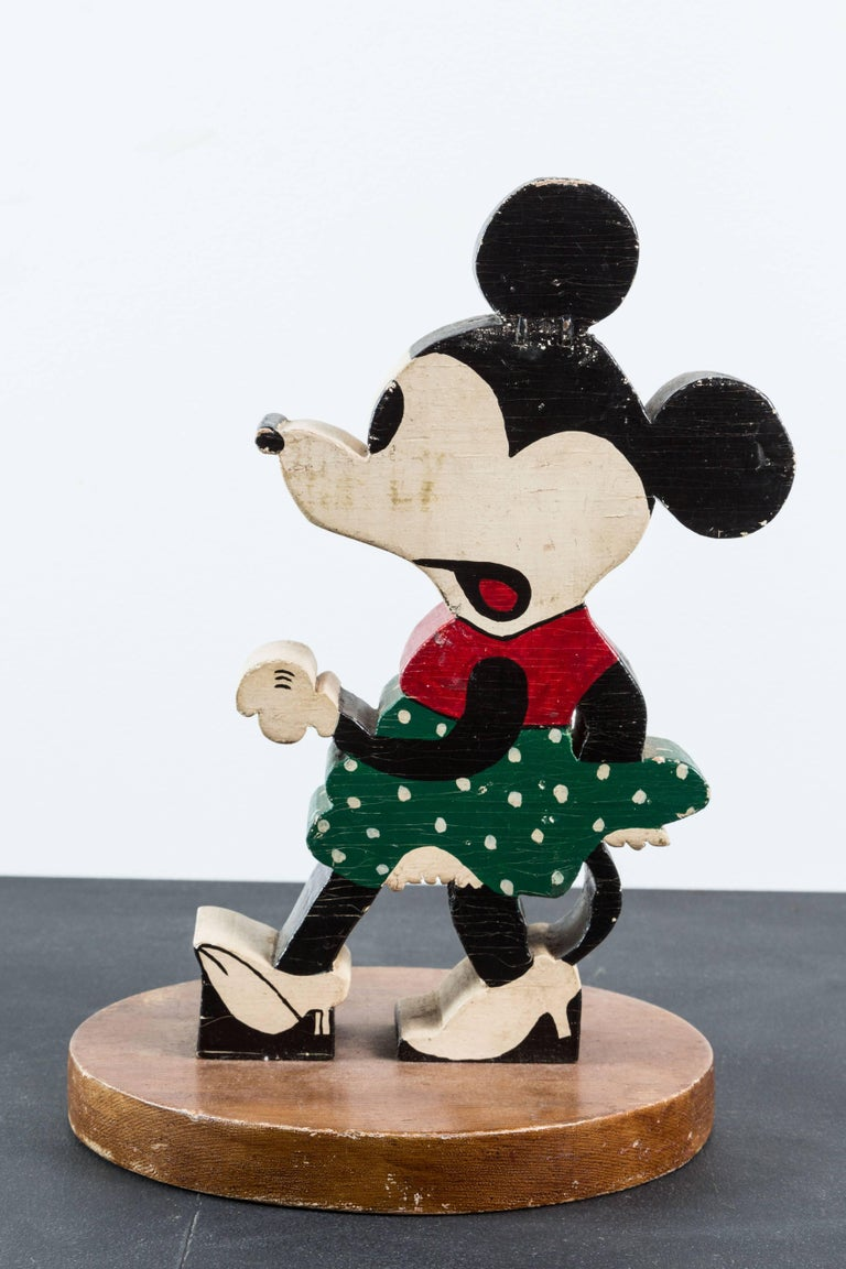 Vintage Wood Caved Folk Art Mickey Mouse and Minnie Mouse For Sale 1