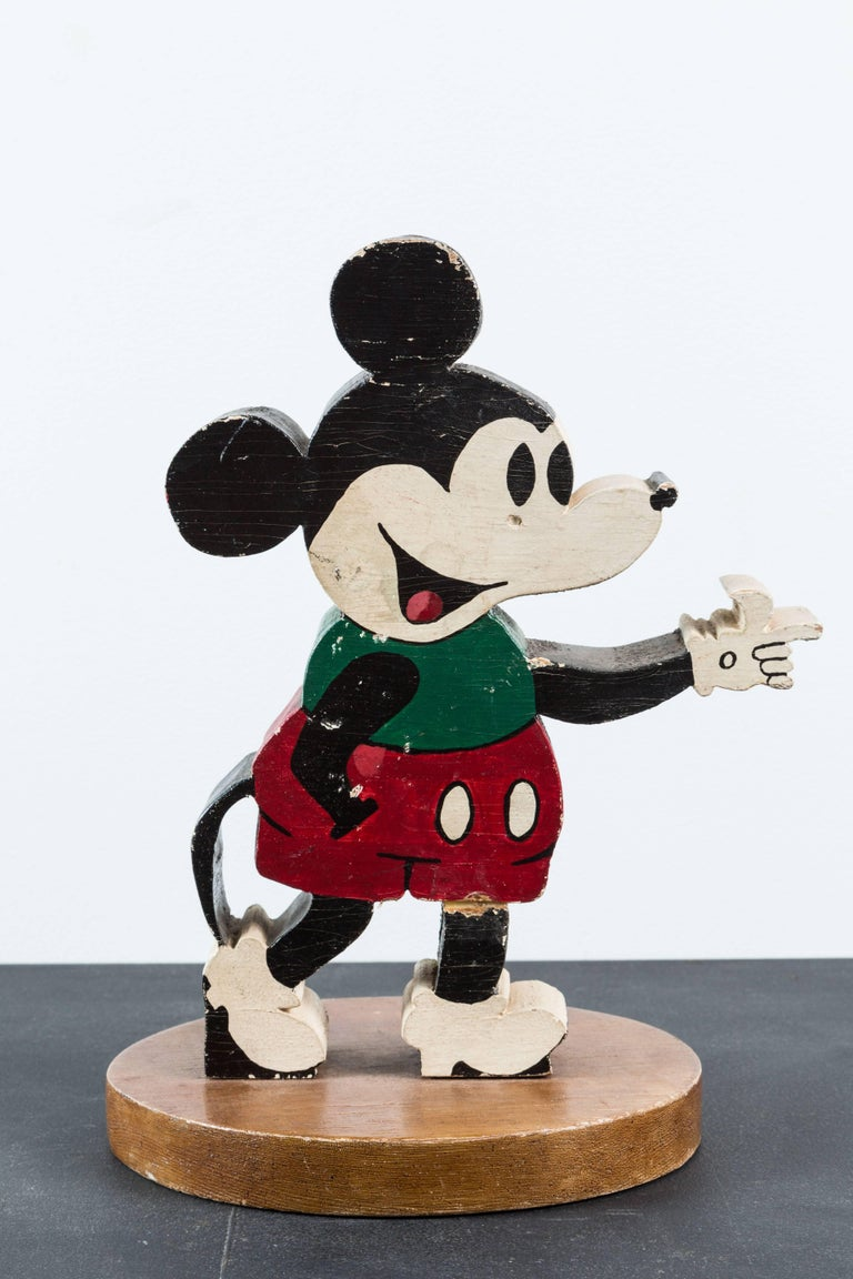 Hand-Painted Vintage Wood Caved Folk Art Mickey Mouse and Minnie Mouse For Sale