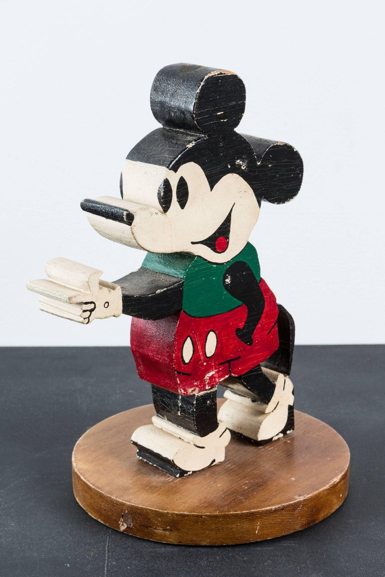 Mid-20th Century Vintage Wood Caved Folk Art Mickey Mouse and Minnie Mouse For Sale