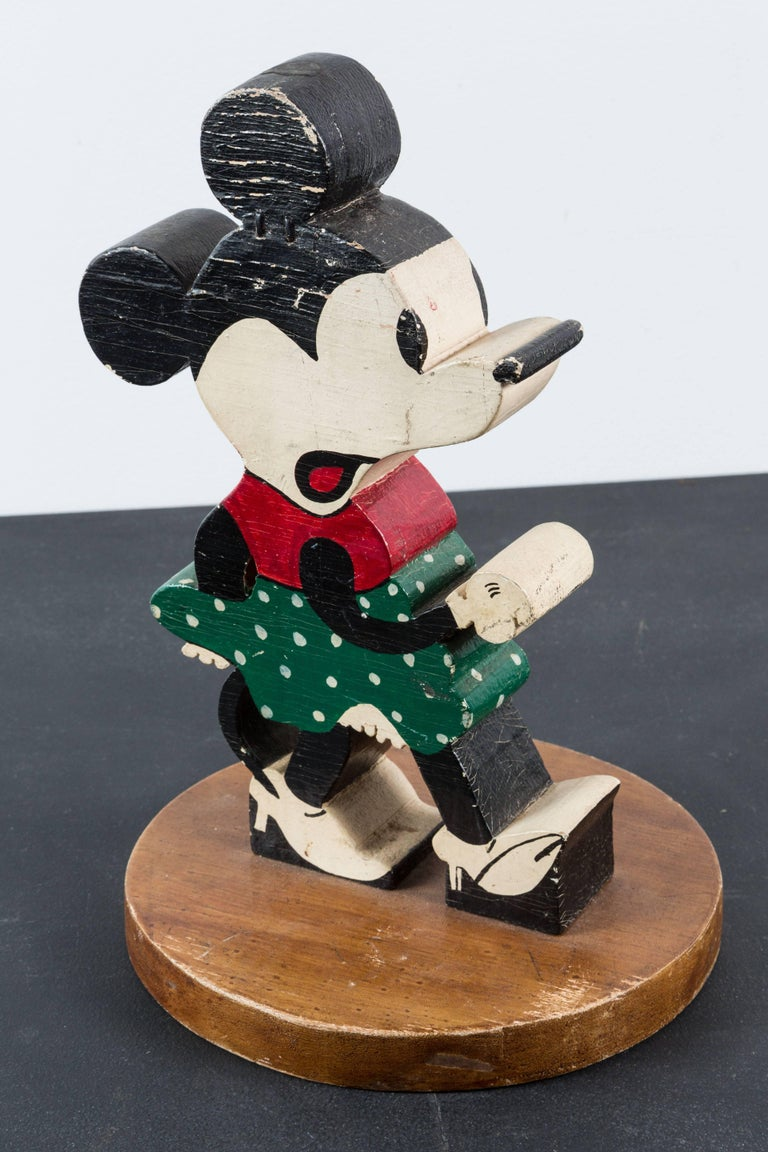 Vintage Wood Caved Folk Art Mickey Mouse and Minnie Mouse For Sale 2