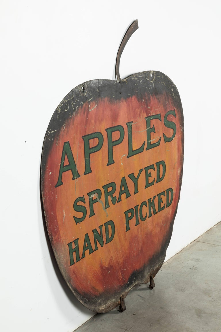 Iron Apple Orchard Folk Art Trade Sign For Sale 1
