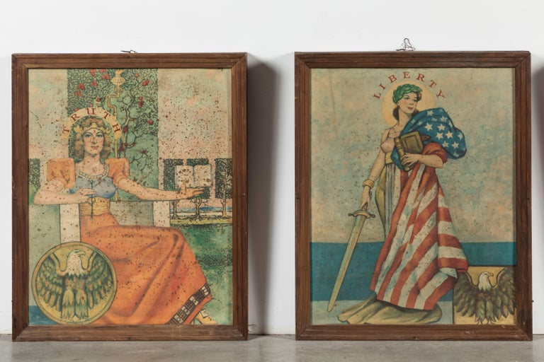 Folk Art Early 20th Century Liberty Truth Equality Justice Midwestern Courthouse Signs For Sale