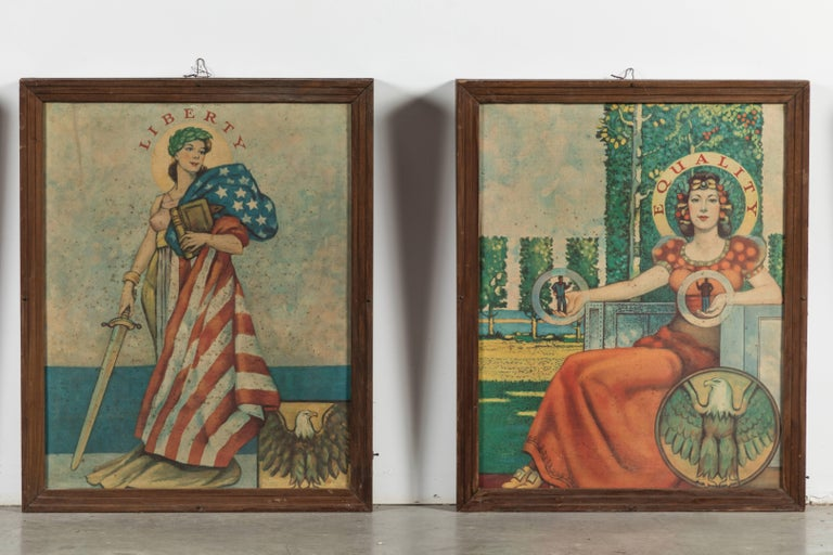 Late 1920s unique collection of American folk art hand painted lightbox wall panel signs created by a sign company in Chicago. The panels hung in the Appanose Country Courthouse in Centerville, Iowa. Liberty, Equality, Justice and Truth.