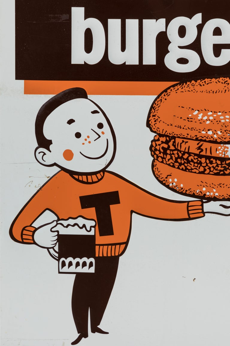 Enameled Collection of Three A&W Drive-In Rootbeer Burger Signs For Sale