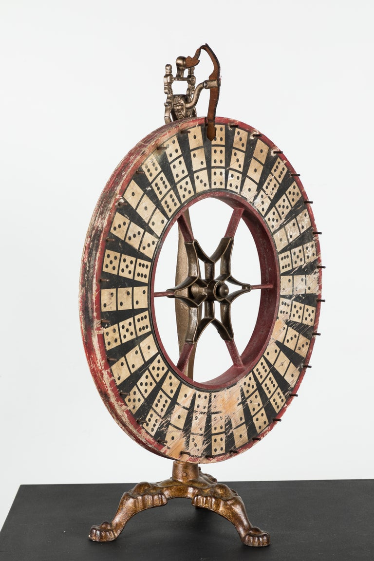 Early 20th Century Antique Casino Carnival Gambling Game Wheel Wood and Iron For Sale