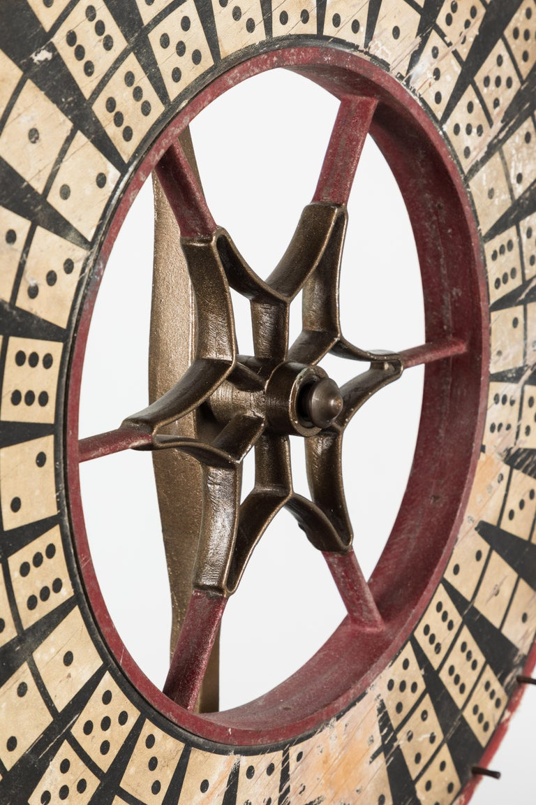Antique Casino Carnival Gambling Game Wheel Wood and Iron For Sale 2