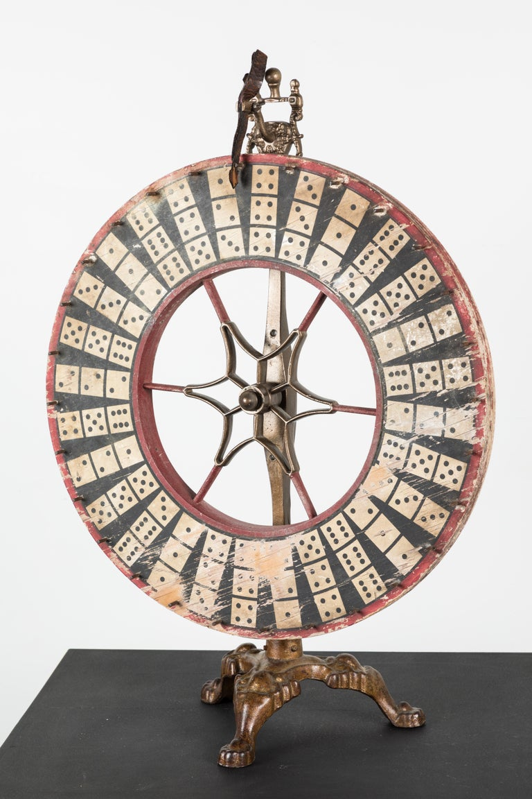 Antique Casino Carnival Gambling Game Wheel Wood and Iron For Sale 4