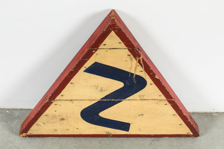 20th Century Vintage Transportation Roadside Curved Road Ahead American Folk Art Wood Sign For Sale