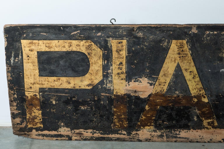 Late 19th Century Pianos Trade American Folk Art Trade Sign 8 Feet Long For Sale 3