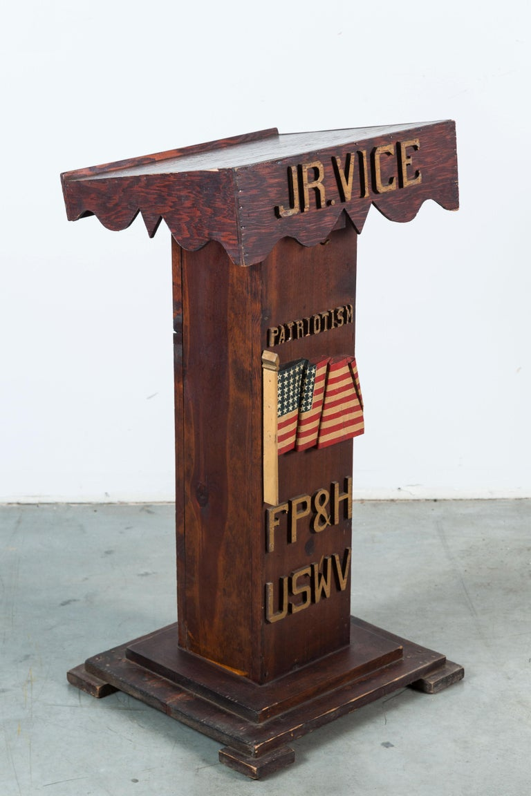 Carved USWV Lodge Pedestal Podiums Folk Art American Flag and Clasped Hands For Sale 1