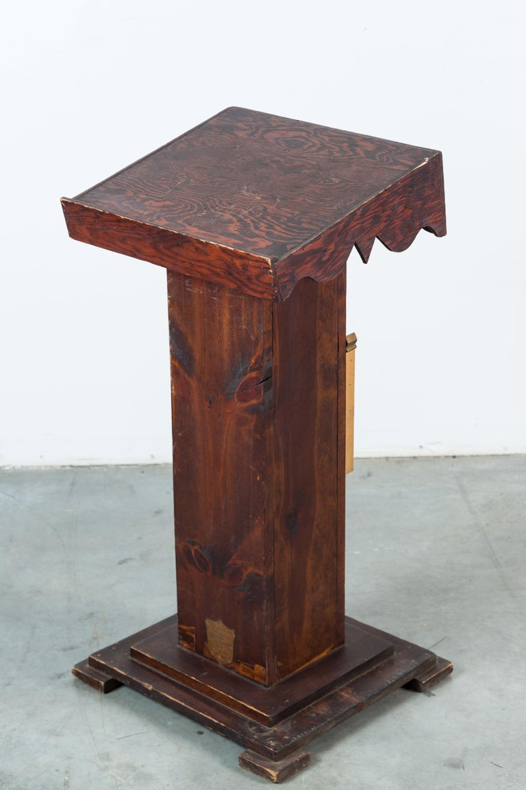 Carved USWV Lodge Pedestal Podiums Folk Art American Flag and Clasped Hands For Sale 2