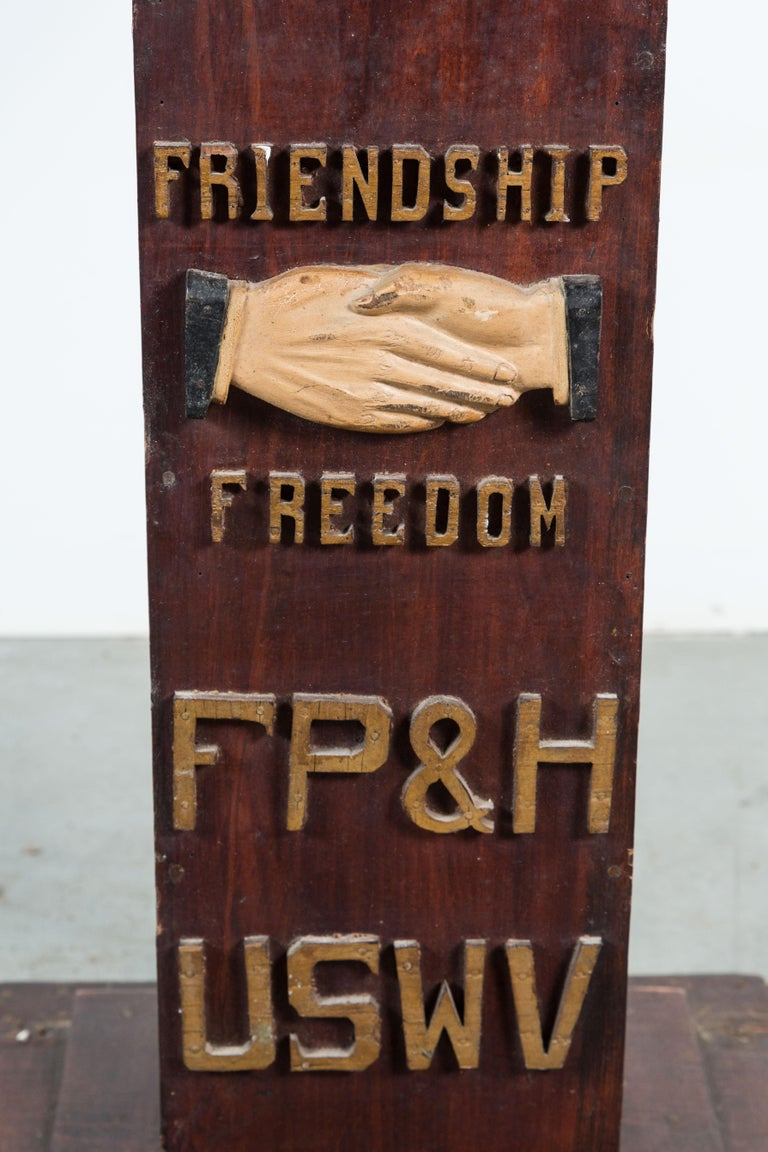 Carved USWV Lodge Pedestal Podiums Folk Art American Flag and Clasped Hands In Good Condition For Sale In Santa Monica, CA