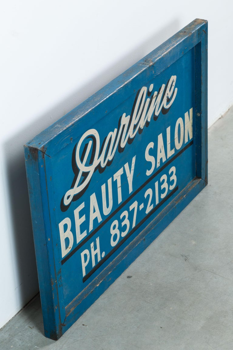 Vintage Hand-Painted Folk Art Beauty Salon Blue Trade Sign, circa 1950s In Good Condition For Sale In Santa Monica, CA