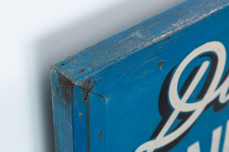 Mid-20th Century Vintage Hand-Painted Folk Art Beauty Salon Blue Trade Sign, circa 1950s For Sale