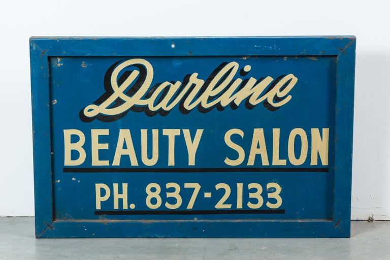 Wood Vintage Hand-Painted Folk Art Beauty Salon Blue Trade Sign, circa 1950s For Sale