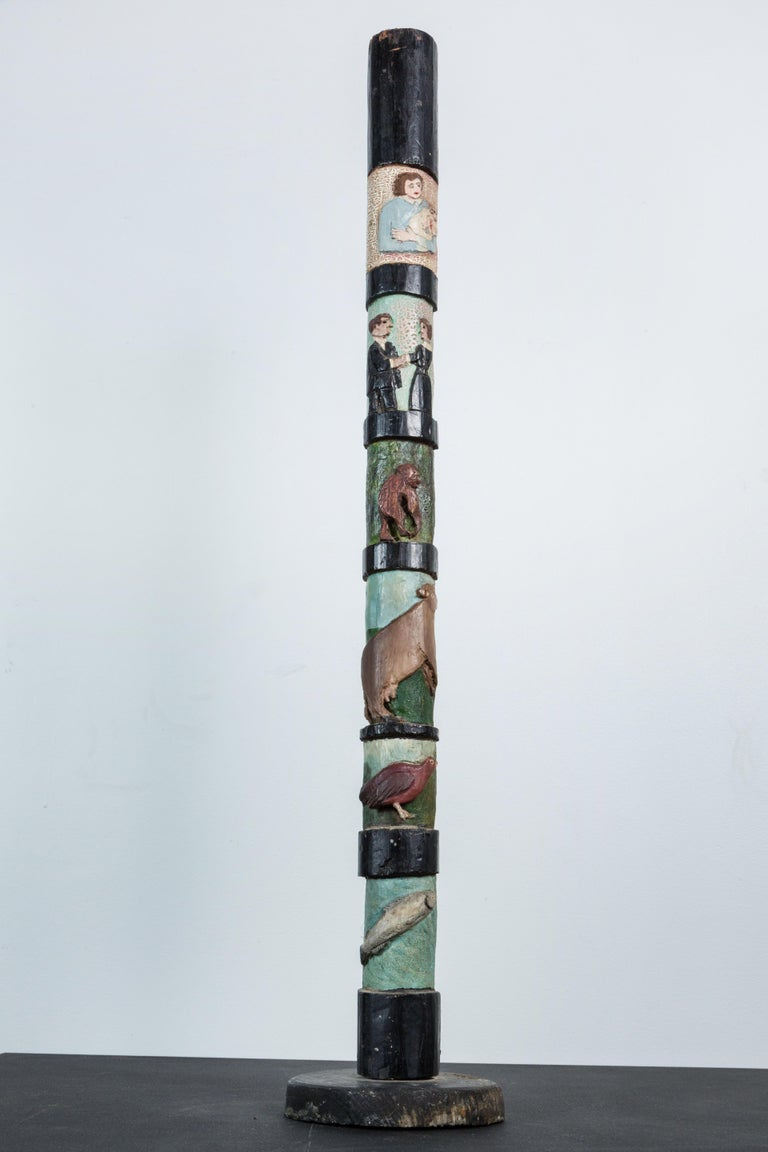 Wood Hand-Carved American Folk Art Totem Pole Evolution Fish to Infant For Sale