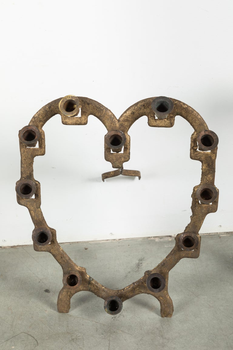 Brass Odd Fellows or Free Masons Ceremonial Lodge Candle Holders Star Heart Anchor For Sale