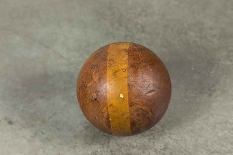 Wood Lawn Bowling Game Original Caddy and Bowling Balls, circa 1900 For Sale 1