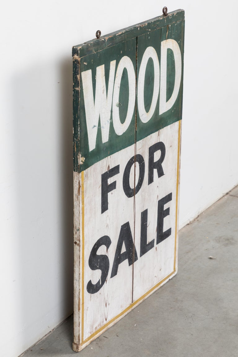 Double Sided General Store Wood and Ice Trade Sign In Good Condition For Sale In Santa Monica, CA