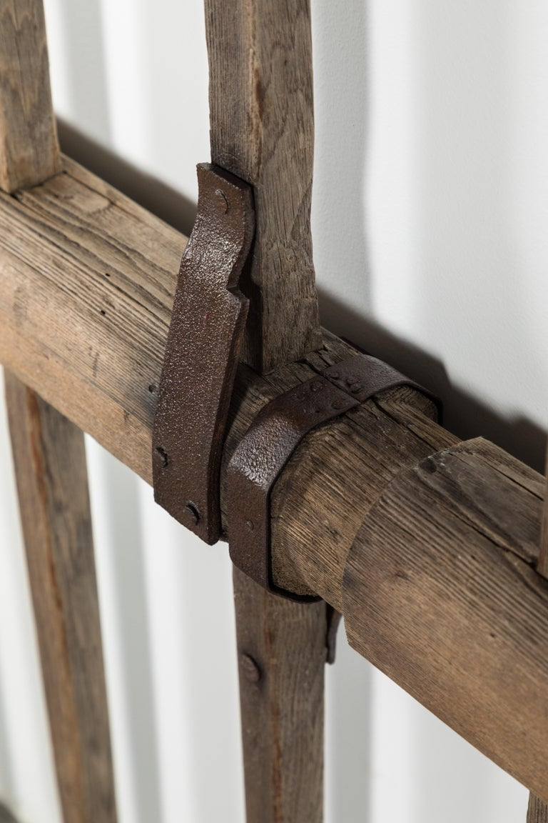 North American Sculptural Wood and Iron Strap 19th Century Farm Implement For Sale