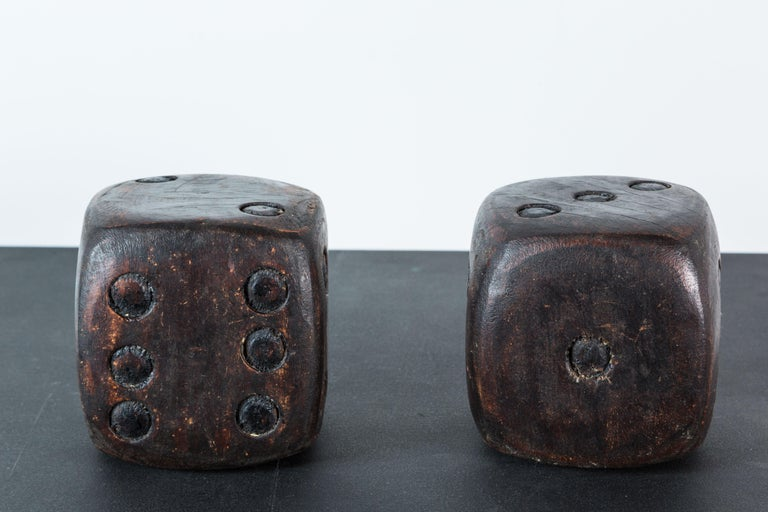 Stained Pair of Wood Carved American Folk Art Dice For Sale