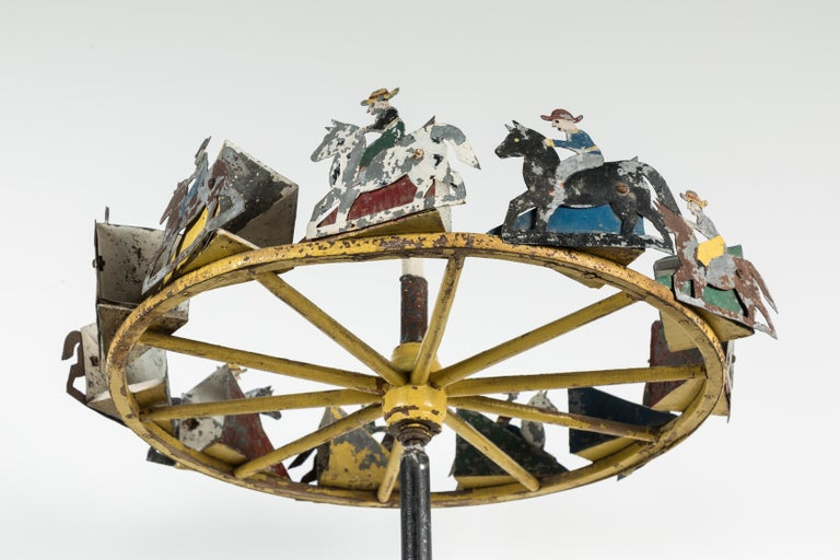 Mid-20th Century American Folk Art Cowboy and Horse Whirligig For Sale