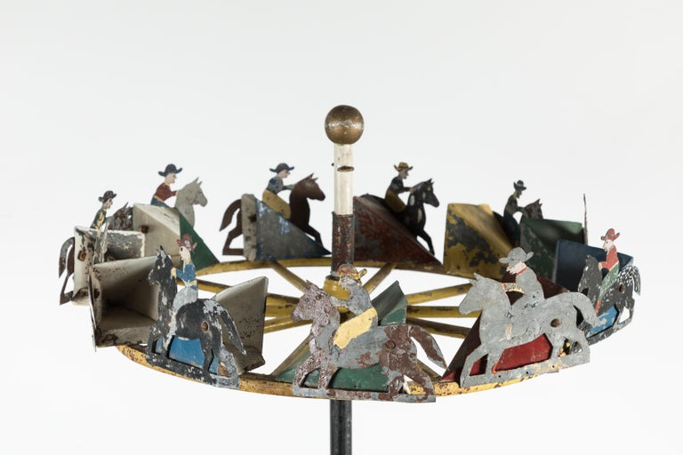 Iron American Folk Art Cowboy and Horse Whirligig For Sale