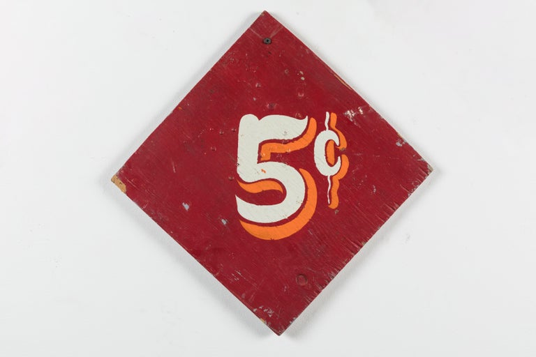 Folk Art Collection of Three Vintage Carnival Midway Nickel Ride Red Signs For Sale