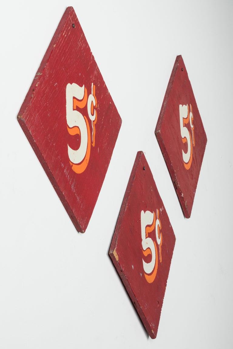 Collection of Three Vintage Carnival Midway Nickel Ride Red Signs In Good Condition For Sale In Santa Monica, CA