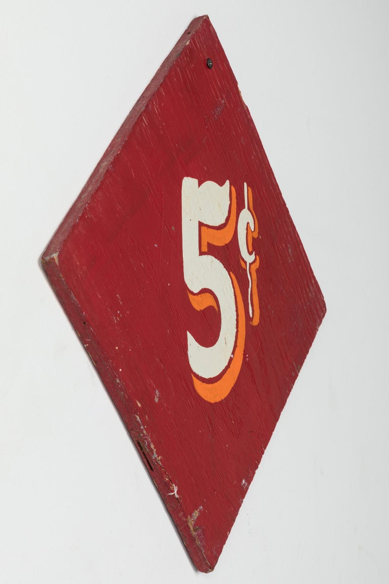 Wood Collection of Three Vintage Carnival Midway Nickel Ride Red Signs For Sale