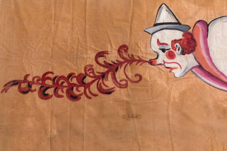 Mid-20th Century Vintage Circus or Sideshow Hand-Painted Giant Clown Banner, circa 1940s For Sale