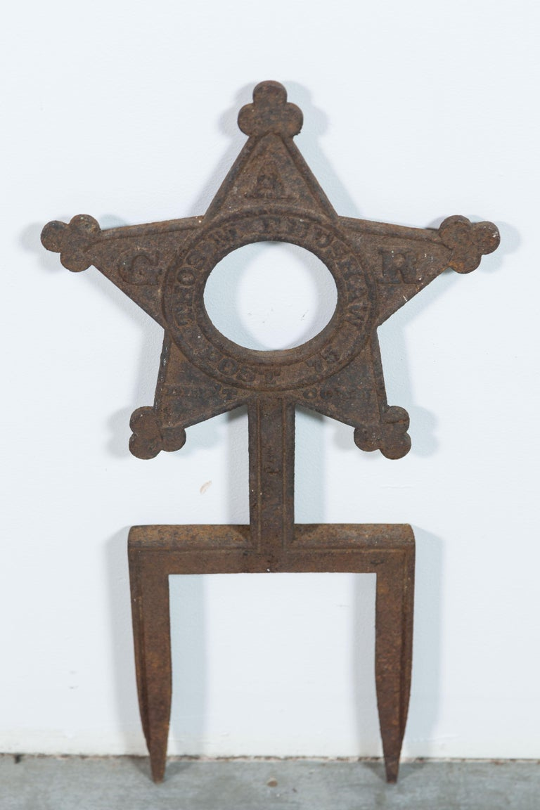 Collection of three Daughters of the Revolution cast iron star markers. Marked GAR Thos Feushaw Post 75 Conn.